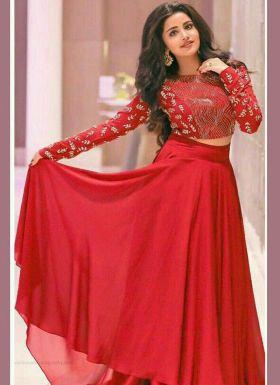 Red Plain Lehenga With Embroidery Choli