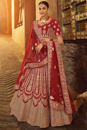 Red Pure Velvet Bridal Lehenga Choli For Wedding Wear