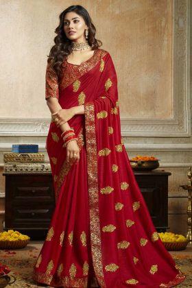 Red Soft Art Silk Designer Sarees With Brocade Blouse
