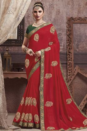 Red Soft Art Silk Embroidered Saree With Dark Green Blouse