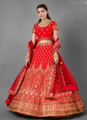 Red Thread Work Bridal Lehenga Choli