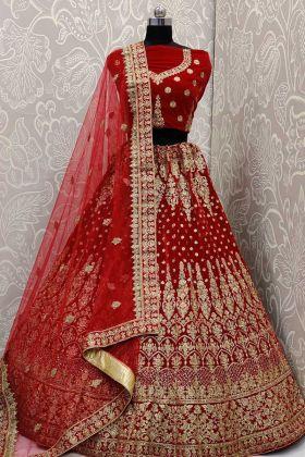 Red Velvet Classy Bridal Lehenga