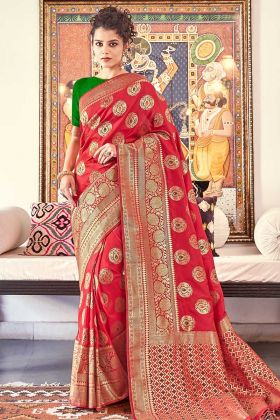 Red Woven Designer Traditional Saree For Women