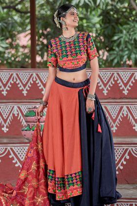 Red and Black Soft Cotton Chaniya Choli
