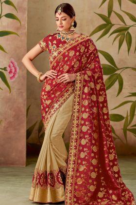 Red And Cream Silk Half N Half Saree Online