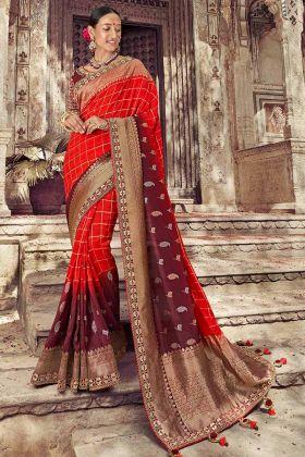 Red and Maroon Color Gota Patti Dola Art Silk Designer Saree
