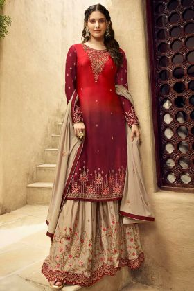 Red and Maroon Color Satin Georgette Sharara Salwar Suit With Heavy Embroidery Work