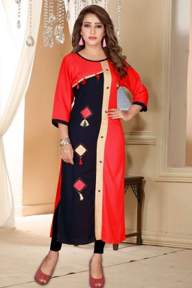 Red and Navy Blue Printed Kurti