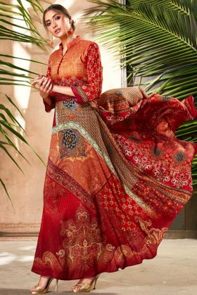 Red And Orange Soft Silk Anarkali Gown For Girls