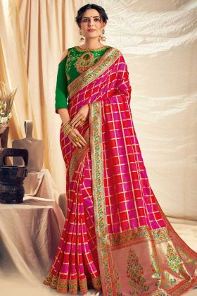 Red and Pink Color Weaved Silk Georgette Wedding Saree