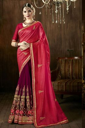 Red And Wine Half And Half Saree