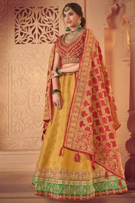 Red and Yellow Wedding Lehenga Choli