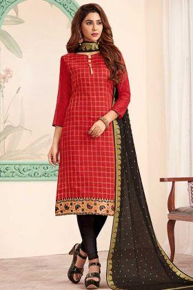 Red Art Silk Straight Salwar Kameez