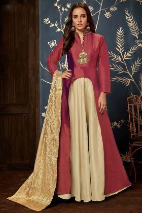 Red Art Silk Wedding Gown
