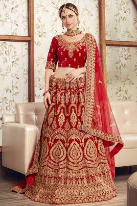 Red Bridal Designer Floral Lehengas Velvet Fabric