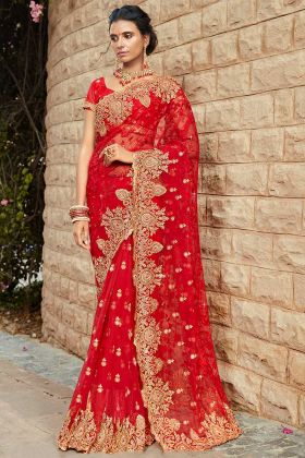 Red Bridal Saree With Resham Embroidery Work
