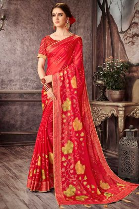 Red Chiffon Casual Floral Print Saree