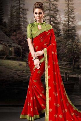 Red Chiffon Festive Saree
