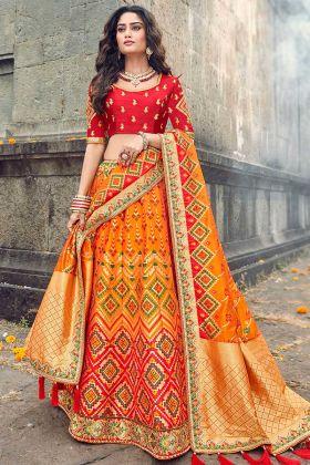 Red Choli With Orange Silk Partywear Lehenga Choli