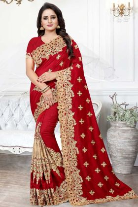 Red Color Art Silk Festival Saree With Cut Work