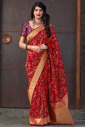 Red Color Banarasi Art Silk Festival Saree With Weaving Work