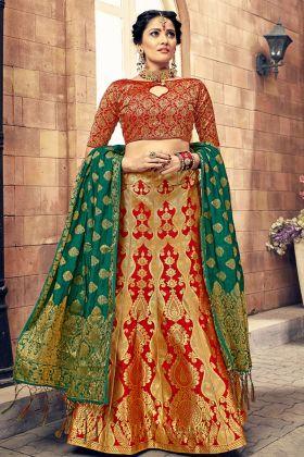 Red Color Banarasi Silk Lehenga Choli