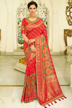 Red Color Banarasi Silk Wedding Saree With Resham Embroidery Work