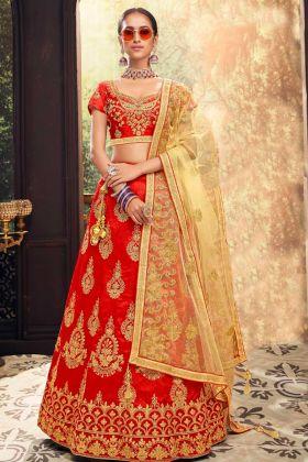 Red Color Banglori Silk Lehenga Choli With Heavy Zari Embroidery Work