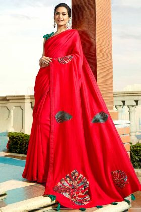 Red Color Chanderi Wedding Saree With Printed Work