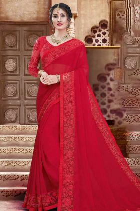 Red Color Coding Embroidery Work Georgette Designer Saree