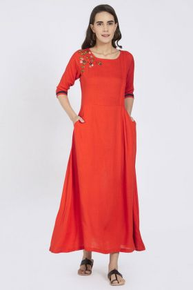 Red Color Cotton Kurti