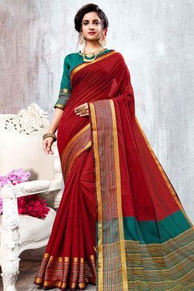 Red Color Cotton Silk Plain Saree