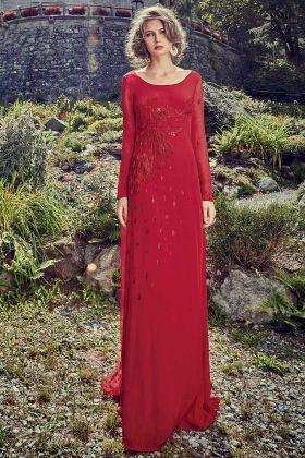 Red Color Crepe Anarkali Gown In Handwork