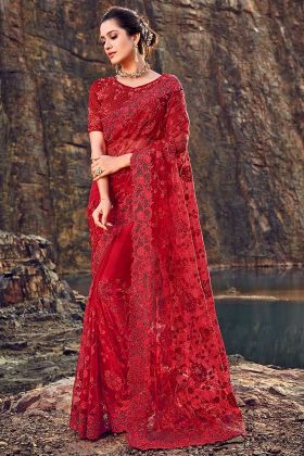 Red Color Diamond Heavy Hand Work Digital Net Saree