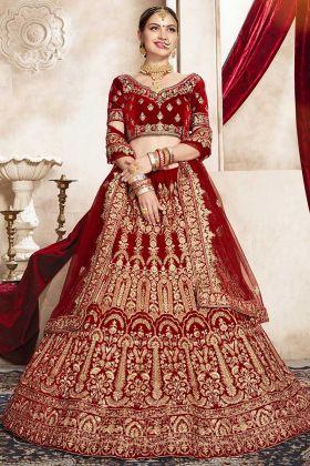 Red Color Embroidery Work Velvet Wedding Bridal Lehenga Choli