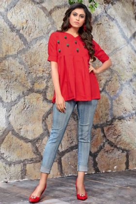 Red Color Galaxy Cotton Party Wear Tops With Embroidery Hand Work