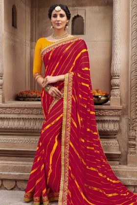 Red Color Georgette Bandhej Saree