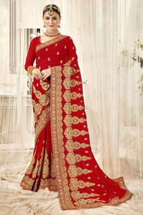 Red Color Georgette Bridal Saree