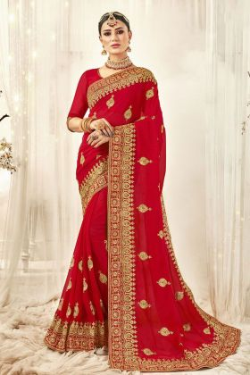 Red Color Georgette Bridal Saree Online