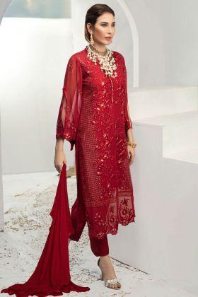 Red Color Georgette Designer Pakistani Salwar Kameez In Embroidered Work
