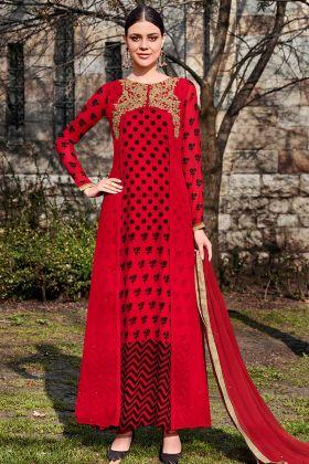 Red Color Georgette Designer Salwar Suit