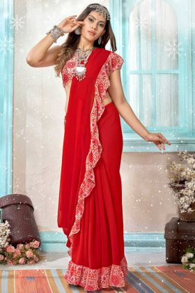 Red Color Georgette Ruffle Printed Saree