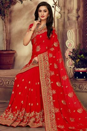 Red Color Georgette Wedding Saree
