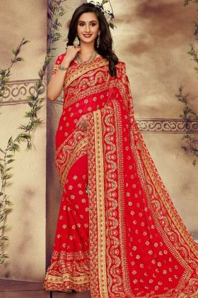 Red Color Georgette Wedding Saree With Zari Work