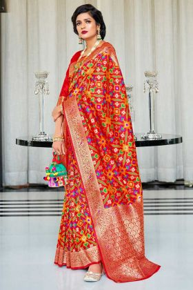 Red Color Handloom Silk Saree With Self Weaving Work