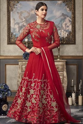 Red Color Heavy Anarkali Suit