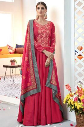 Red Color Heavy Satin Taffeta Anarkali Suit