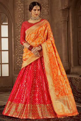 Red Color Heavy Weaving Work Banarasi Silk Wedding Lehenga Choli