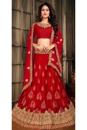 Red Color Jacquard Net Lehenga In Resham Work