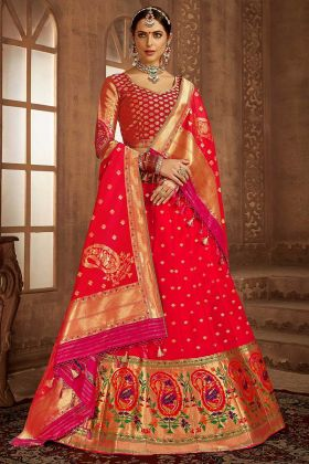 Red Color Jacquard Work Banarasi Silk Designer Lehenga Choli